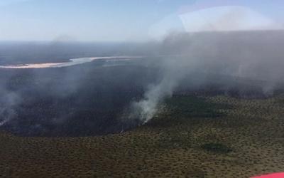 Bombeiros combatem incêndio no Parque do Araguaia em Mato Grosso
