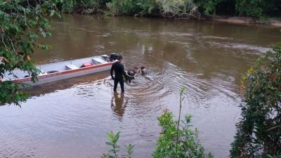 Bombeiros estão fazendo buscas por criança que sumiu em rio